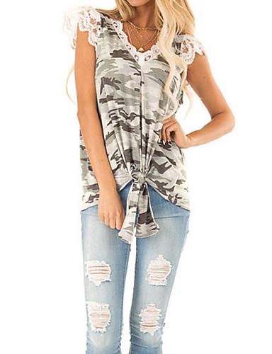 billige Dametopper-T-skjorte Dame - Kamuflasje, Trykt mønster Grunnleggende / Rock Beige