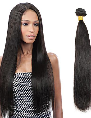 preiswerte Ausverkauf-1 Bündel Indisches Haar Glatt Unbehandeltes Haar Menschenhaar spinnt 8-26 Zoll Schwarz Menschliches Haar Webarten Haarverlängerungen / 10A / Gerade
