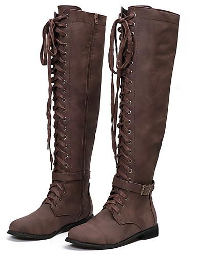 billige Shoes & Bags Must-have-Dame Støvler Knehøye Støvler Tykk hæl Rund Tå Semsket lær / Lerret Knehøye støvler Vinter Svart / Brun / kaffe