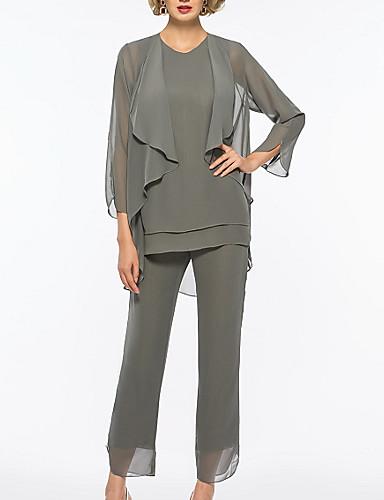 voordelige Wrap Dresses-pantsuit Met sieraad Tot de enkel Chiffon Bruidsmoederjurken met Ruches door LAN TING Express / Wrap inbegrepen