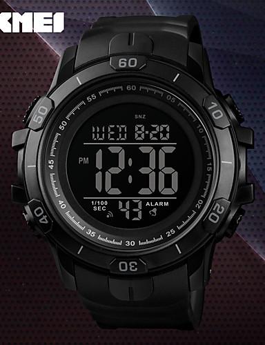 SKMEI สำหรับผู้ชาย นาฬิกาทหาร นาฬิกาอิเล็กทรอนิกส์ (Quartz) ยางทำจากซิลิคอน ดำ / เขียว 50 m Military กันน้ำ นาฬิกาปลุก ดิจิตอล ภายนอก แฟชั่น - ฟ้า สีทอง เขียวเข้ม หนึ่งปี อายุการใช้งานแบตเตอรี่