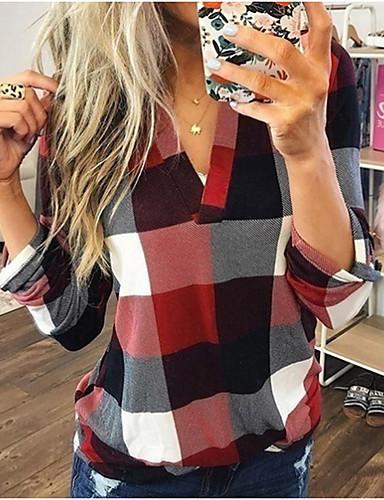 billige Trendy dameklær-Bluse Dame - Ruter Blå