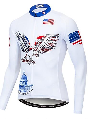 povoljno Biciklističke majice-WEIMOSTAR American / USA Orao Državne zastave Muškarci Dugih rukava Biciklistička majica - Blue / Bijela Bicikl Biciklistička majica Majice UV otporan Prozračnost Ovlaživanje Sportski Poliester