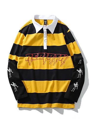 voordelige Heren T-shirts & tanktops-Heren Street chic Print T-shirt Gestreept Geel