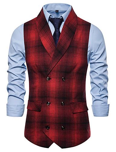 cheap Waistcoats-Men's Notch lapel collar Vest Houndstooth Black / Red US32 / UK32 / EU40 / US34 / UK34 / EU42 / US36 / UK36 / EU44