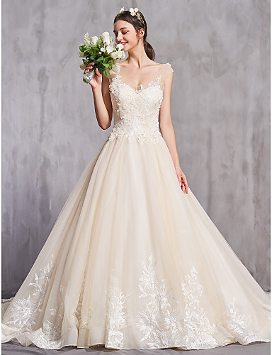 cheap Wedding Dresses-A-Line Scoop Neck Chapel Train Lace / Tulle Regular Straps Sexy Wedding Dresses with Beading / Appliques 2020