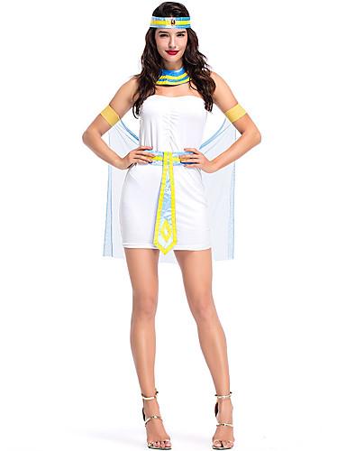 preiswerte Kostüme für Erwachsene-Prinzessin Erwachsene Damen Antikes Ägypten Halloween Halloween Fest / Feiertage Tüll Polyester Weiß Damen Karneval Kostüme Solide