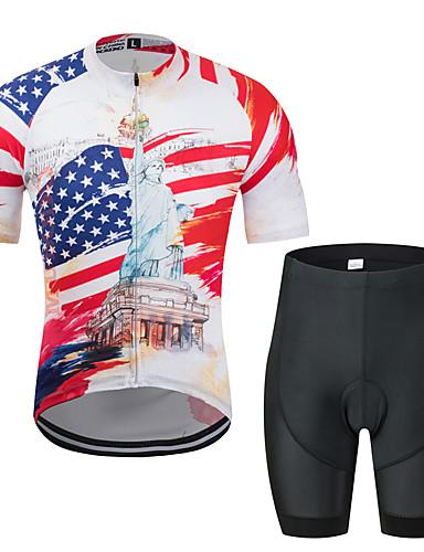 povoljno Odjeća za vožnju biciklom-MUBODO American / USA Kip slobode Muškarci Kratkih rukava Biciklistička majica s kratkim hlačama - Crna / crvena Bicikl Sportska odijela Prozračnost Ovlaživanje Quick dry Sportski Til Brdski