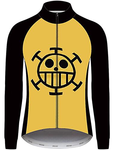 povoljno Odjeća za vožnju biciklom-21Grams One Piece Muškarci Dugih rukava Biciklistička majica - Crna / žuta Bicikl Biciklistička majica Majice UV otporan Prozračnost Ovlaživanje Sportski 100% poliester Brdski biciklizam Odjeća