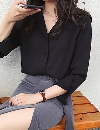 billige Skjorter til damer-Skjorte Dame - Ensfarget, Lapper Grunnleggende Svart
