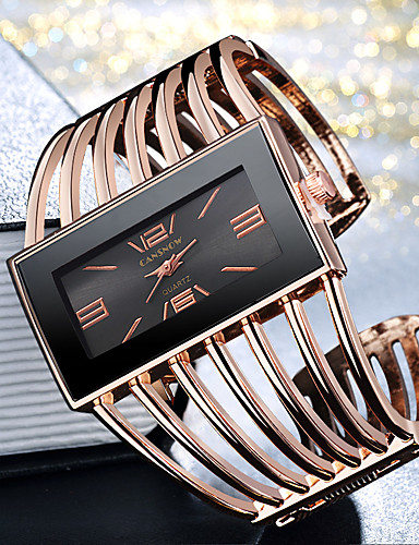 cheap Bracelet Watches-Women's Ladies Bracelet Watch Gold Watch Quartz Silver / Gold / Rose Gold Casual Watch Cool Large Dial Analog Fashion Elegant - Golden+Black Rose Gold Black / Rose Gold One Year Battery Life