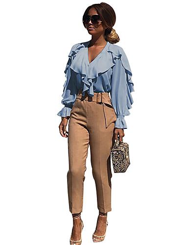 billige Dametopper-Skjorte Dame - Ensfarget, Flettet / Lapper Forretning / Grunnleggende Hvit / Blå Hvit