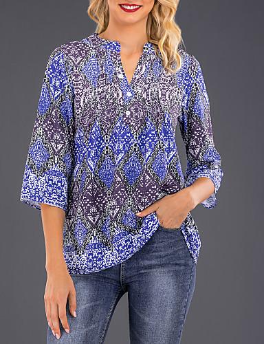 billige Skjorter til damer-V-hals Skjorte Dame - Geometrisk, Trykt mønster Marineblå