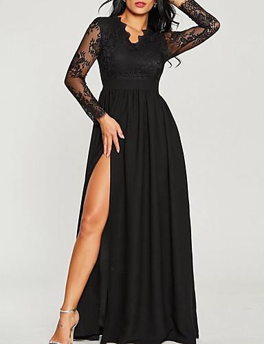 levne Maxi šaty-Dámské Šik ven Sofistikované Swing Šaty - Jednobarevné, Krajka Patchwork Maxi