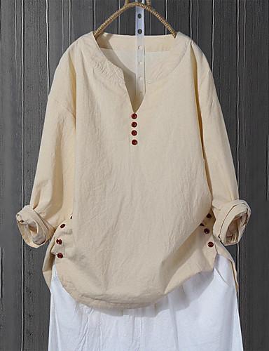 billige Skjorter til damer-Skjorte Dame - Ensfarget, Kryss / Lapper Grunnleggende Rosa