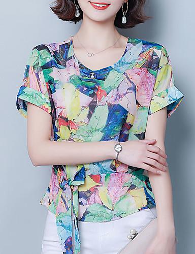 billige Dametopper-T-skjorte Dame - Geometrisk, Blondér / Trykt mønster Vintage / Gatemote Regnbue