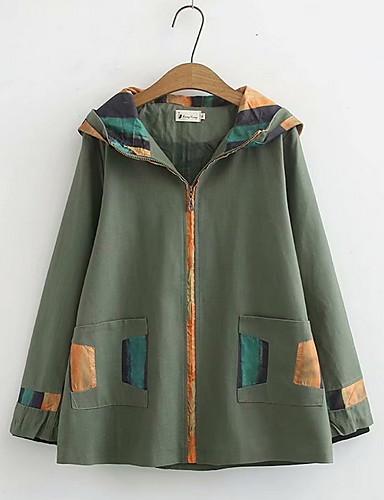 preiswerte Damenbekleidung Ausverkauf-Damen Alltag Standard Jacke, Solide Mit Kapuze Langarm Polyester Schwarz / Marineblau / Armeegrün