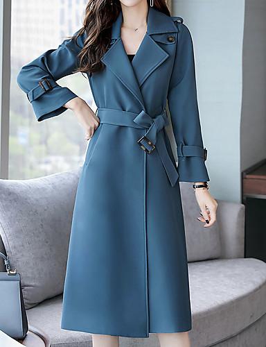 preiswerte Damen Trenchcoats-Damen Alltag Frühling & Herbst Lang Trench Coat, Solide Hemdkragen Langarm Polyester Orange / Blau