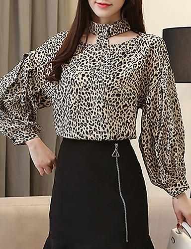 billige Dametopper-Skjorte Dame - Leopard Gatemote / Elegant Kakifarget