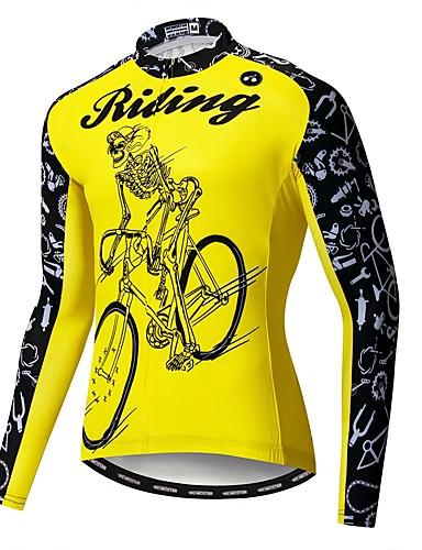 povoljno Biciklističke majice-WEIMOSTAR Noviteti Lubanje Skeleton Muškarci Dugih rukava Biciklistička majica - Bijela Bicikl Biciklistička majica Majice UV otporan Prozračnost Ovlaživanje Sportski Poliester Elastan Terilen Brdski