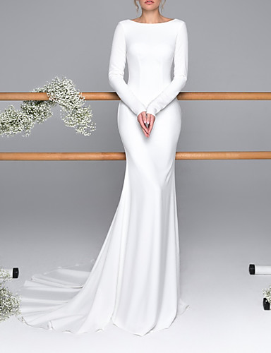 cheap Wedding Dresses-Mermaid / Trumpet Wedding Dresses Bateau Neck Sweep / Brush Train Satin Long Sleeve Mordern Backless with Buttons 2020