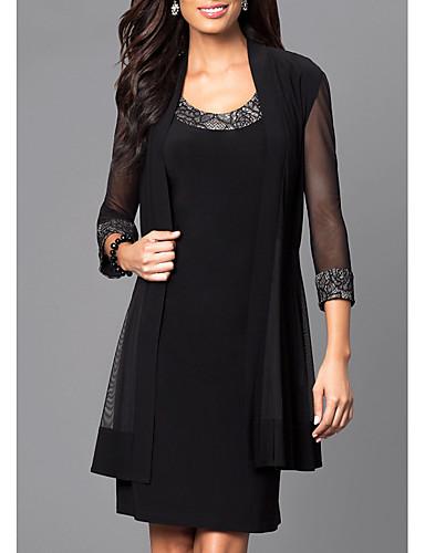 preiswerte Damenmode-Damen Elegant Etuikleid Kleid Solide Übers Knie