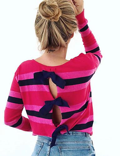 billige Dametopper-Bluse Dame - Stripet / Regnbue, Lapper Grunnleggende / Gatemote Regnbue