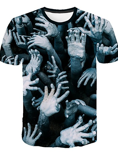 Homens Camiseta Moda de Rua / Exagerado Estampado, Estampa Colorida / 3D / Caveiras Verde Tropa