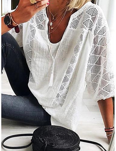 Mulheres Camiseta Elegante Renda / Guarnição do laço, Sólido Azul Claro