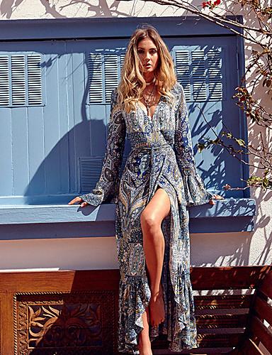 voordelige Maxi-jurken-Dames Boho Street chic Wijd uitlopend Jurk - Bloemen Geometrisch Kleurenblok, Split Veters Print Maxi Blauw & Wit Wit Blauw