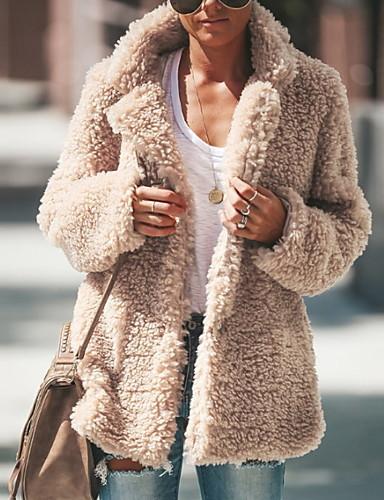 levne Dámské kabáty a trenčkoty-Dámské Denní Zima Standardní Kabát, Jednobarevné Klasické klopy Dlouhý rukáv Polyester Světlá růžová / Tmavě šedá / Světle šedá