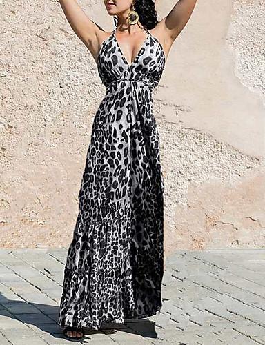 levne Maxi šaty-Dámské Větší velikosti Základní Pouzdro Šaty - Leopard, Tisk S řemínky Maxi Ramínka
