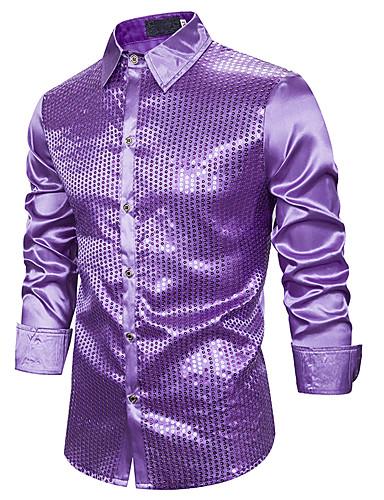voordelige Herenoverhemden-Heren Standaard Pailletten Overhemd Effen Blauw / Rood Zwart