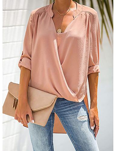 billige Dametopper-Skjorte Dame - Ensfarget Grunnleggende Hvit Svart