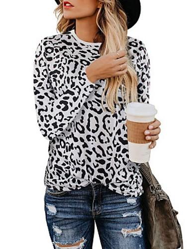 billige Dametopper-T-skjorte Dame - Leopard / Kamuflasje, Trykt mønster Grunnleggende Lysebrun