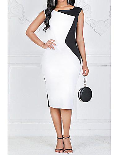 levne Pracovní šaty-Dámské Větší velikosti Bavlna Štíhlý Pouzdro Šaty - Barevné bloky Délka ke kolenům