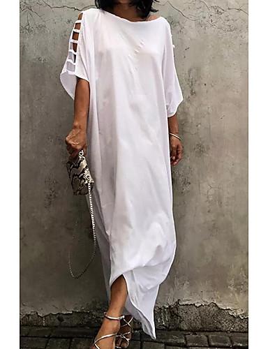 Mulheres Básico Reto Vestido Sólido Longo