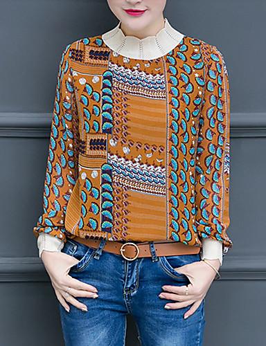 billige Dametopper-T-skjorte Dame - Geometrisk, Lapper / Trykt mønster Vintage / Gatemote Hvit