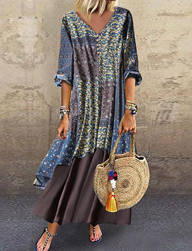 abordables Robes d'été-Femme Robe Trapèze Grandes Tailles Robe Maxi longue Manches 3/4 Printemps été - Simple Multirang Imprimé Fleur Col en V Ample 2020 Bleu Rouge Vert Bleu clair M L XL XXL XXXL XXXXL XXXXXL