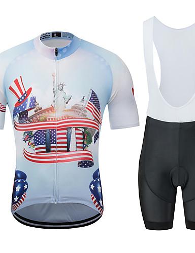 povoljno Odjeća za vožnju biciklom-MUBODO American / USA Kip slobode Muškarci Kratkih rukava Biciklistička majica s kratkim tregericama - Crno bijela  / Bicikl Sportska odijela Prozračnost Ovlaživanje Quick dry Sportski Til Brdski