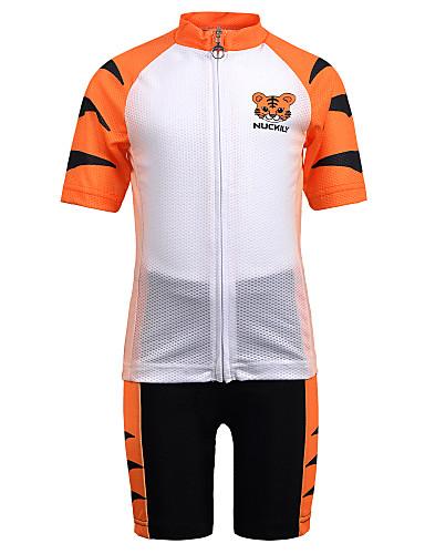 povoljno Odjeća za vožnju biciklom-Nuckily Dječaci Djevojčice Kratkih rukava Biciklistička majica s kratkim hlačama - Dječji žuta Tigar Bicikl Sportska odijela Prozračnost Ovlaživanje Quick dry Anatomski dizajn Sportski Spandex Tigar