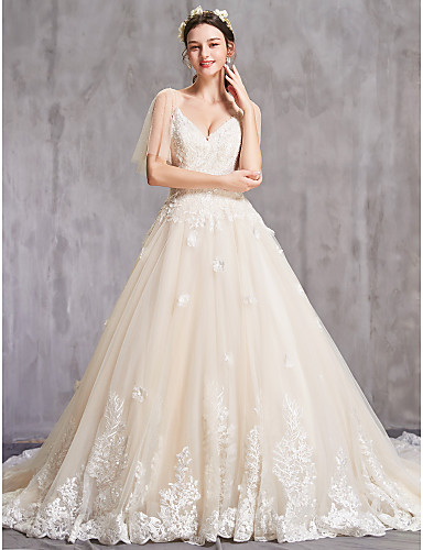 cheap Wedding Dresses-A-Line V Neck Chapel Train Tulle Spaghetti Strap Sexy Wedding Dresses with Beading / Embroidery 2020 / Illusion Sleeve