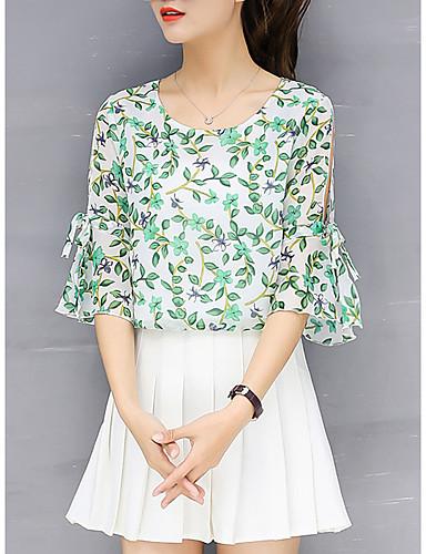 billige T-skjorter til damer-T-skjorte Dame - Blomstret, Utskjæring / Drapering / Trykt mønster Gatemote Grønn