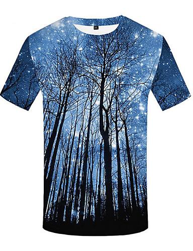 Homens Camiseta Moda de Rua Pregueado / Estampado, 3D Azul e Branco Azul