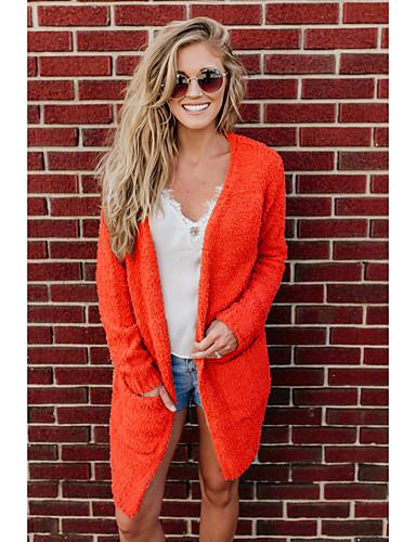 levne Dámské kabáty a trenčkoty-Dámské Denní Podzim zima Dlouhé Kabát, Jednobarevné Do V Dlouhý rukáv Polyester / Spandex Oranžová
