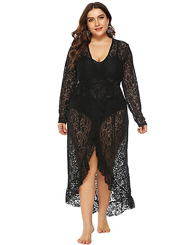 voordelige Grote maten jurken-Dames Standaard Recht Jurk - Effen Asymmetrisch