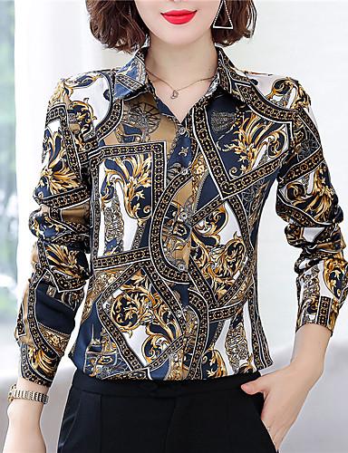 billige Skjorter til damer-Skjorte Dame - Grafisk Chinoiserie Rød
