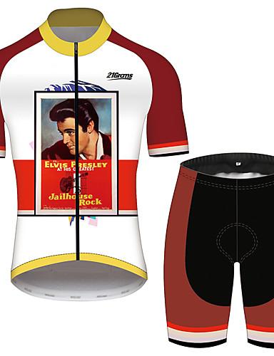 povoljno Odjeća za vožnju biciklom-21Grams Elvis Presley Muškarci Kratkih rukava Biciklistička majica s kratkim hlačama - Red and White Bicikl Sportska odijela Prozračnost Quick dry Reflektirajuće trake Sportski 100% poliester Brdski