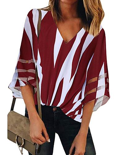 billige Dametopper-T-skjorte Dame - Stripet, Trykt mønster Grunnleggende BLå & Hvit / Svart og hvit Svart