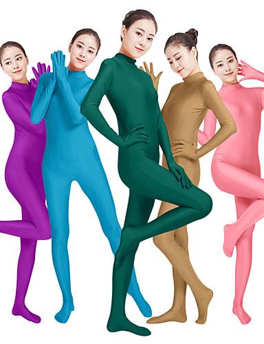 povoljno Maske i kostimi-Zentai odijela Catsuit Odijelo za kožu Odrasli Lycra® Cosplay Nošnje Moda Spol Muškarci Žene purpurna boja / žuta / Bijela Jednobojni Moda Halloween Karneval Maškare / Visoka elastičnost